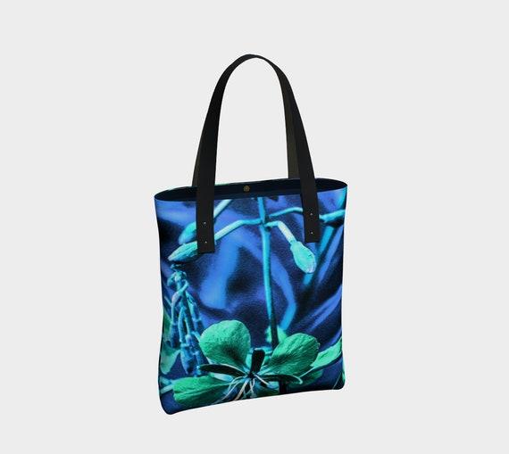 Floral Tote Bag Blue Green Flower Art Urban Tote Bag With Lining Custom Printed Artwork Design