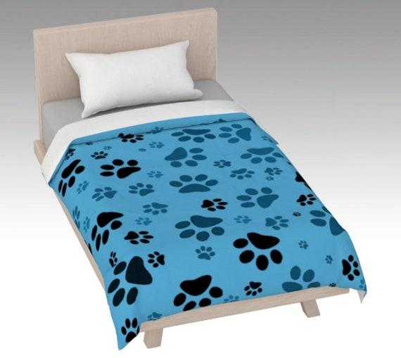 Paw Print Duvet Cover |Blue Paw Duvet Cover | Dog Paw Design | Custom Printed | Artist Designed