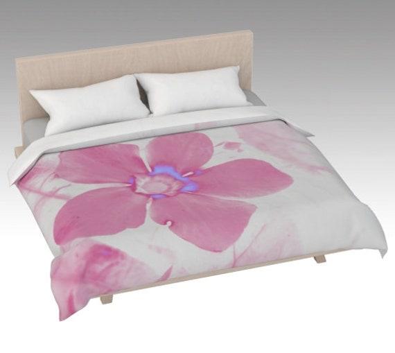 Pink Flower Duvet Cover | Flower Art Bed Covering | Floral Bed Cover Pink