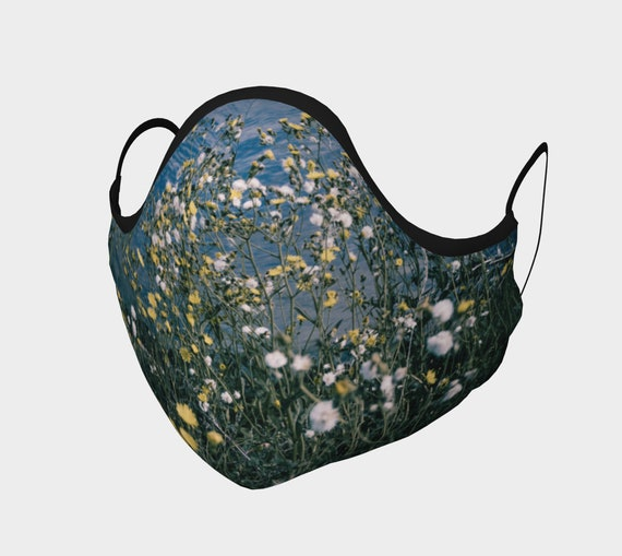 Dandelion Face Mask Printed Floral Face Covering Artist Designed Custom Printed Available In Adult and Youth Sizes