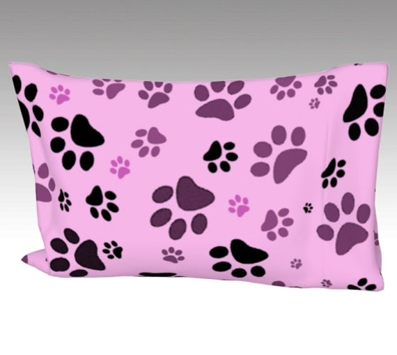Paw Print Pillow Case   Pink Paw Pillow Sleeve   Dog Paws Pillow Case   Dog Print Pillow Cover