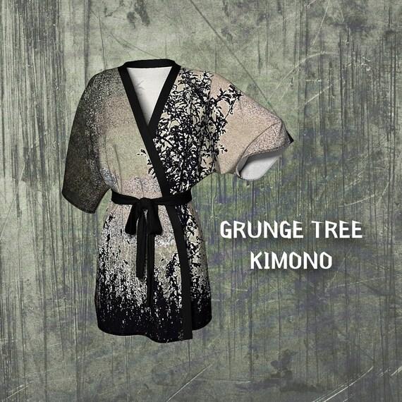 Grunge Tree Kimono Robe Womens Vintage Style Kimono Lounge Robe Custom Printed Artist Designed