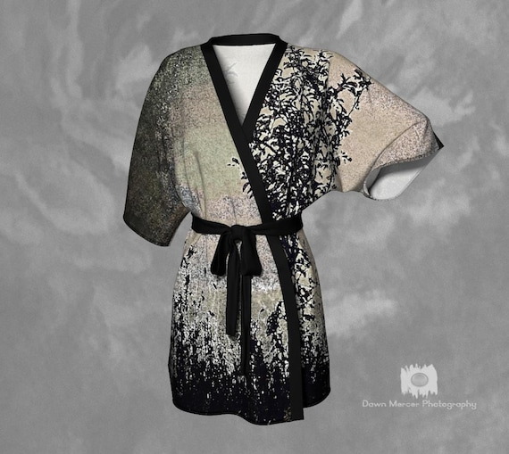 Elegant Kimono Robe   Nature Print Beach Coverup   Lounge Robe   Silky Robe   Chiffon Kimono Robe