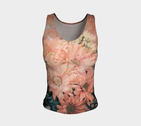 Daisy Print Tank Top Pink Daisy Fitted Tank For Women Printed Tank Top Vintage Pink Daisy Art