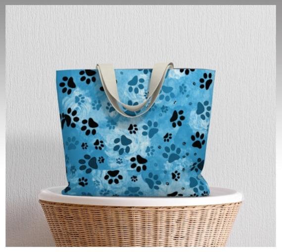 Paw Print Tote Bag | Blue Dog Paw Market Tote