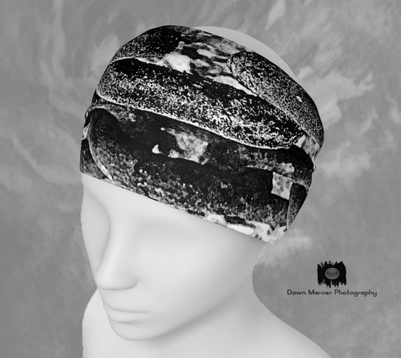 Black White Headband Chain Abstract Hair band, Cool Bandana Scarf Black White Printed Hair Bands Head Bands Artist Designed Custom Print