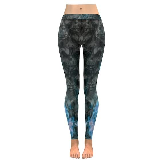 Skull Leggings Blue Flame Skull Print Leggings All Over Print Leggings For Women Custom Printed Artist Designed FREE SHIPPING