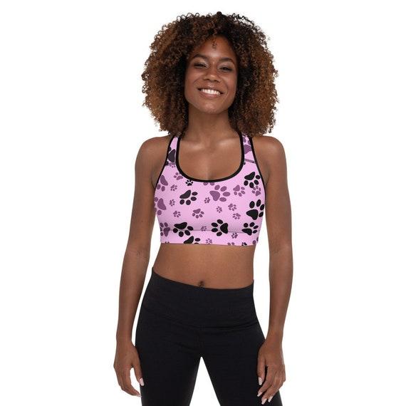 Paw Print Padded Sports Bra | Racerback Yoga Bra | Women's Activewear