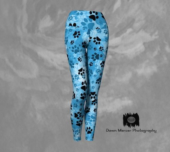 Blue Paws Leggings | Blue Dog Paw Print Leggings Womens