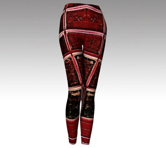 Red Art Leggings | Abstract Tights | Yoga Pants | Workout Wear Womens