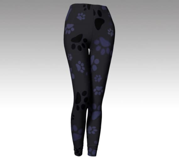 Dog Paws Leggings | Paw Print Tights | Yoga Pants | Workout Bottoms | High Waist | Compression Fit