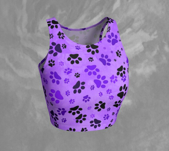 Paw Print Crop Top Purple Dog Paw Print Crop Top Fitted Athletic Top Dog Paw Print Top Colourful Workout Crop Tank Printed Yoga Top Cropped