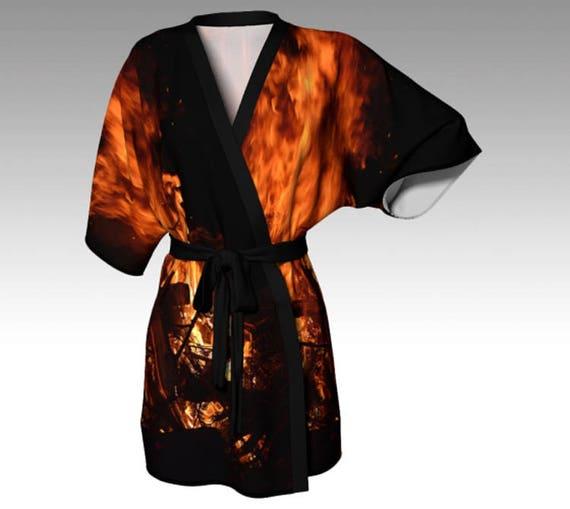 Flame Kimono Robe Flame Print Kimono Silk Kimono Lounge Robe Chiffon Robes For Women
