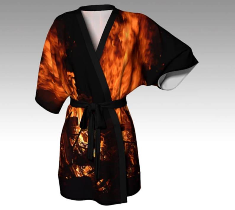 72672492323d Flame Kimono Robe Flame Print Kimono Silk Kimono Lounge Robe