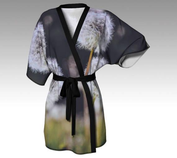 Dandelion Kimono Robe Nature Kimono Printed Silk Kimono Lounge Robe For Women Bath Robe Kimono Silky Knit Robe Chiffon Kimono Robe