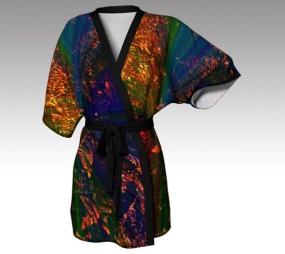 Starry Light Kimono Robe   Lounge Robe   Beach Cover Up