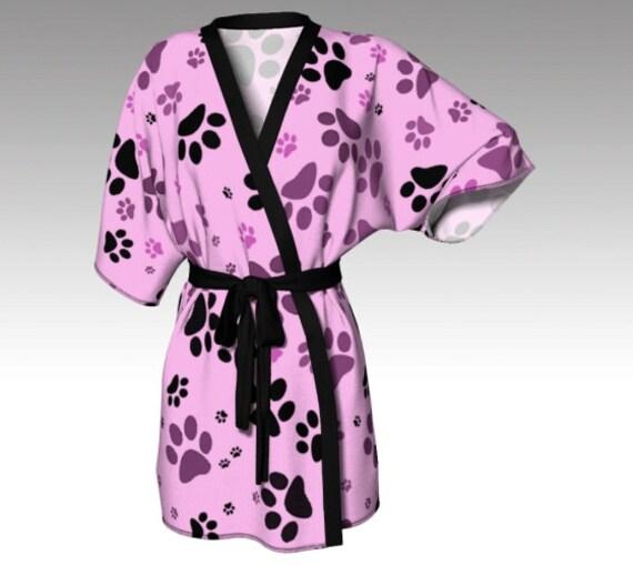 Paw Print Kimono   Dog Paw Print Robe   Pink Kimono Robe