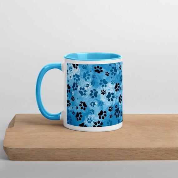 Blue Dog Mug   Blue Paws Mug   Paw Print Mug Blue