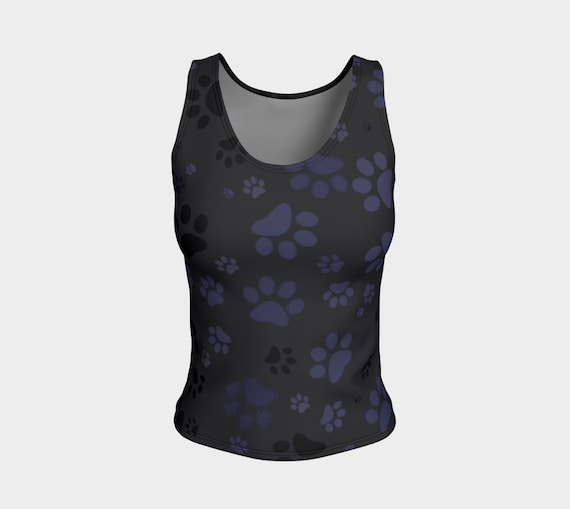 Dog Paws Tank Top | Paw Print Tank Top | Fitted Tank Top | Yoga Top | Workout Wear | Performance Top Sleeveless