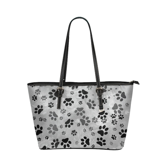 Grey Paw Print Tote Leather Tote Bag With Paw Print Design