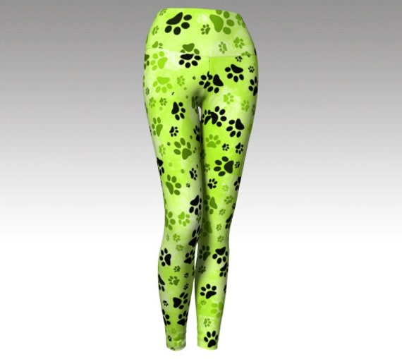Lime Dog Paw Leggings | Paw Print Yoga Leggings | Green Paw Print Leggings