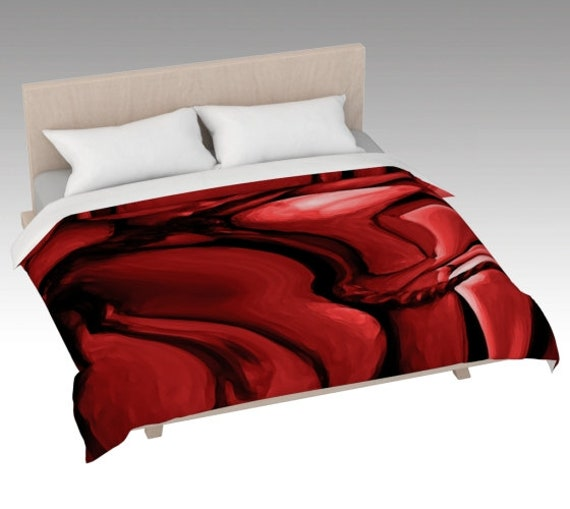 Red Abstract Duvet Cover | Abstract Art Bed Covering | Red Bed Cover Pink