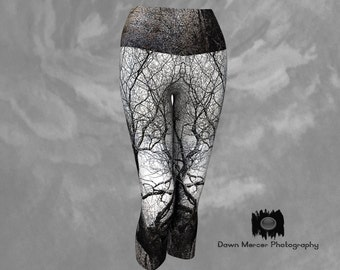 Tree Print Capris Yoga Leggings, Tree Art Leggings, Workout Tights, Capris Leggings Printed Art Leggings Tree Print, FREE SHIPPING