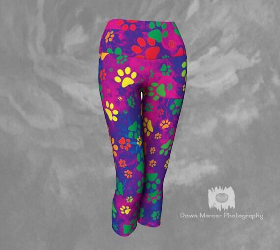 Rainbow Paw Print Capris Dog Paw Print, Leggings Capris Colourful Artsy Premium Quality Unique Art Printed Cropped Leggings For Women