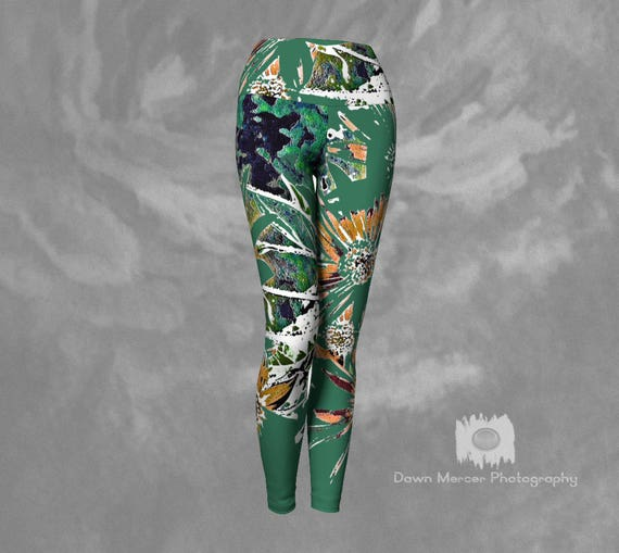6e169a1143cf7 Tight Yoga Pants Printed Yoga Leggings Flower Yoga Pants Floral Yoga  Leggings Green Abstract Floral Print
