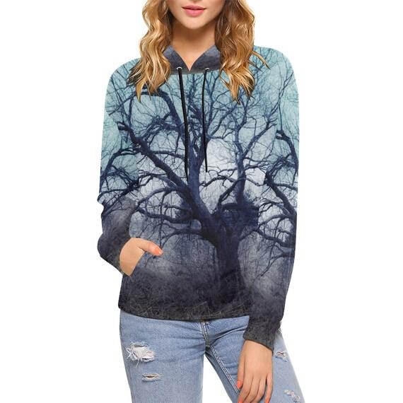 Tree Print Hoodie Womens Custom Printed Hoodie All Over Print Hoodie Pullover Artist Designed FREE SHIPPING