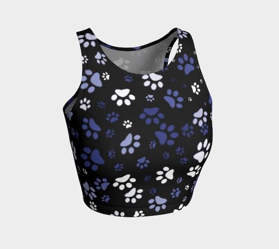 Paw Print Crop Top Black Blue Dog Paw Print Crop Top Womens Athletic Crop Top