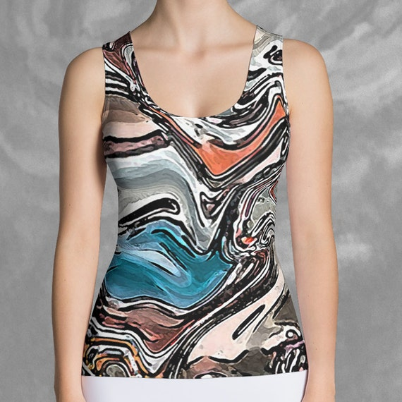Abstract Tank Top Athletic Funky Abstract, Art Fitted Tank Top, Womens Tank Artsy, Abstract Art Printed Tank Top, Womens Fashion, Activewear