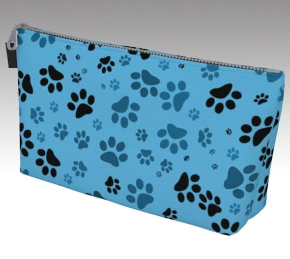 Paw Print Makeup Bag | Dog Paw Cosmetic Bag | Blue Paws Makeup Pouch | Carry-All | Toiletry Bag