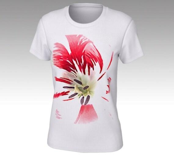 Painted Flower T Shirt | Floral Tee Shirt | Short Sleeve Shirt