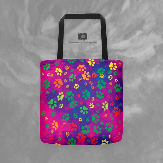 Paw Print Tote Colorful Dog Paw Print Tote Bag Unique Grocery Tote Printed Book Tote Rainbow Dog Paw Print Colorful Shoulder Tote Dog Paws