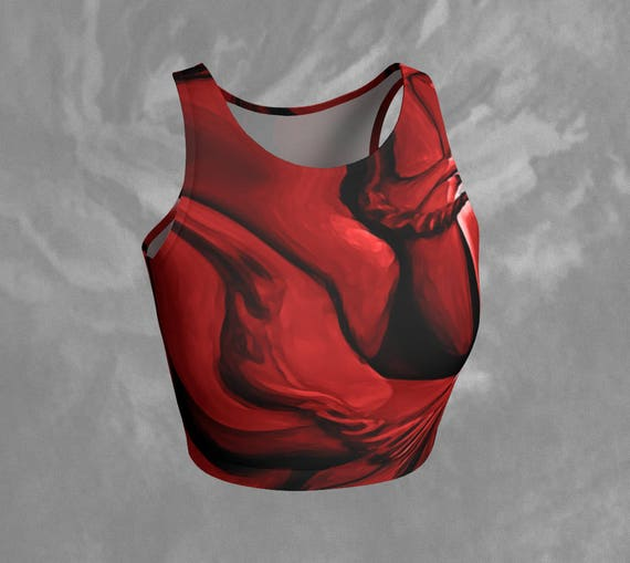 Red Art Crop Top Tight Red Top Printed Tank Top Cropped Sleeveless Crop Top Fitness Top For Ladies Womens Yoga Top Printed Red Crop Top