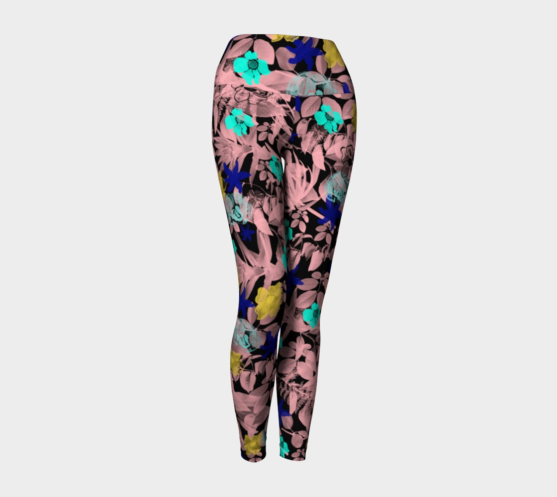 7c6aa230529dc Floral Yoga Leggings Art Design Leggings For Women Tight Ankle Length  Compression Fit High Waist No Elastic Waistband FREE SHIPPING