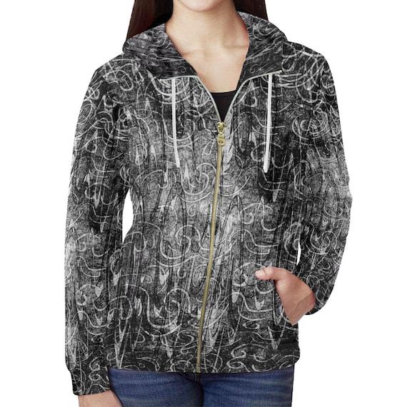 Grunge Style Hoodie Womens Zip Up Custom Printed Grunge Art Hoodie All Over Print Hoodie Artist Designed FREE SHIPPING