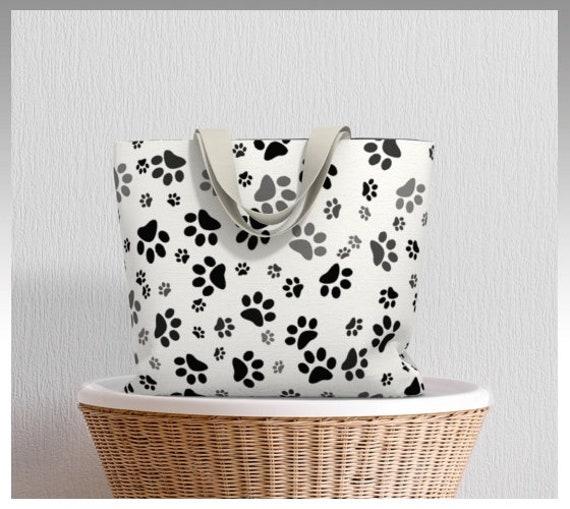 Dog Paw Tote Bag | White Paw Print Market Tote