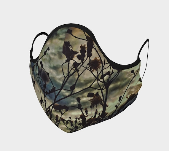 Nature Print Face Mask Printed Face Covering Artist Designed Custom Printed Available In Adult and Youth Sizes