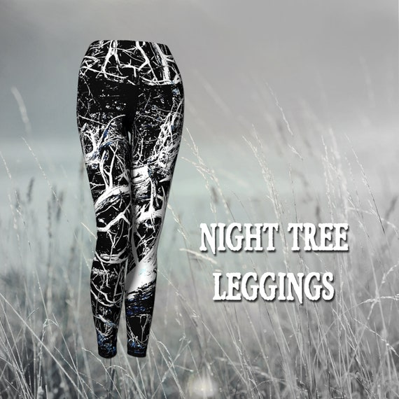 Tree Print Leggings Yoga Womens Tree Art Print Leggings Custom Printed Artist Designed FREE SHIPPING