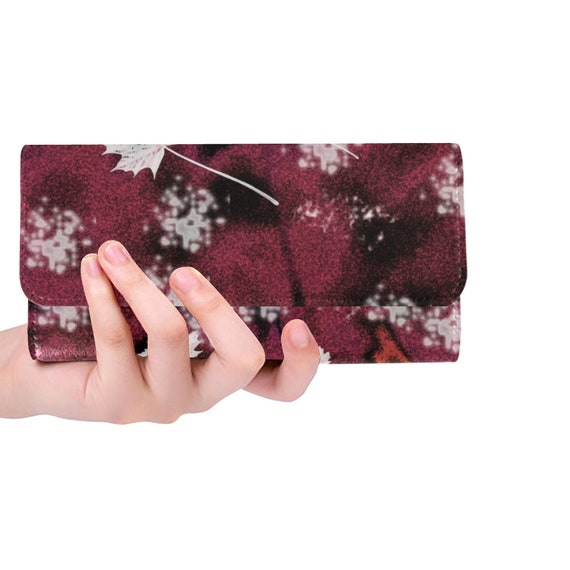 Trifold Clutch Wallet Womens Floral Leaf Wallet Trifold Clutch Custom Printed Wallet Artist Designed FREE SHIPPING