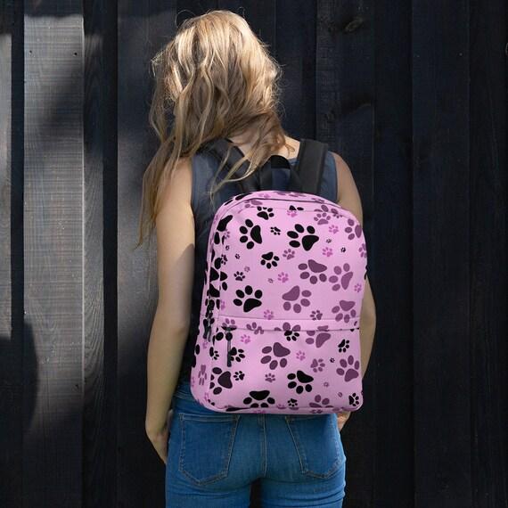 Paw Print Backpack   Pink Dog Paw Back Pack   Printed Backpack   Custom Printed   Artist Designed