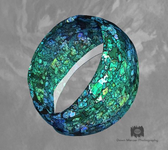 Printed Headband Art Print Head Band Blue Green Bandana Unique Hairband Wide Fabric Headbands Stretchy Bandana Neck Scarf Womens Accessories