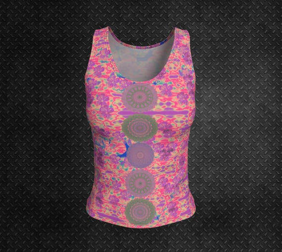 Pink Boho Tank Top Fitted Tank Top Womens Tank Printed Tight Fit Tank Top Ladies Tank Top Womens Pink Tank Top Art Print Tank