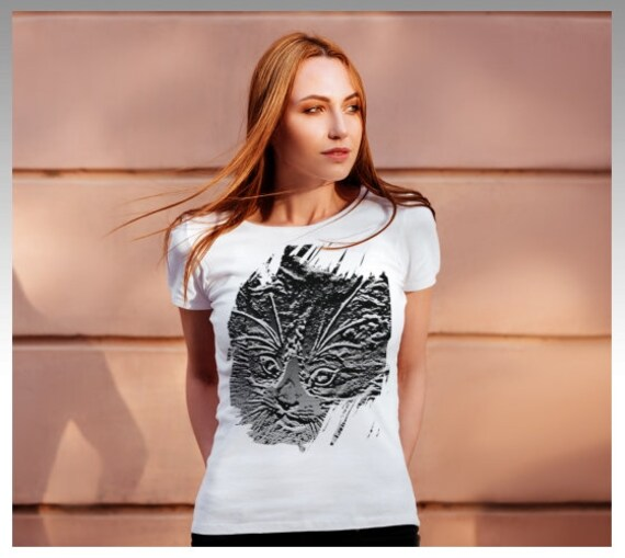 Cat Print Shirt | Cat Artwork TShirt | Abstract Cat Tee Shirt | Cat Lovers T Shirt