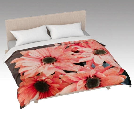 Vibrant Daisy Duvet Cover | Daisy Flowers Bed Covering | Daisies Bed Cover Pink