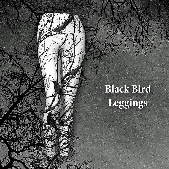 Black Bird Leggings Womens Yoga Leggings Custom Printed Premium Quality Artist Designed