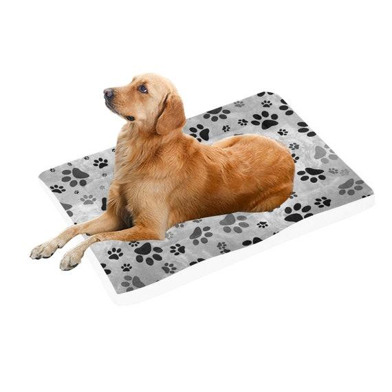 "Grey Paw Dog Bed | Grey Paw Print Doggie Bed | Pet Pad 54""x37"""