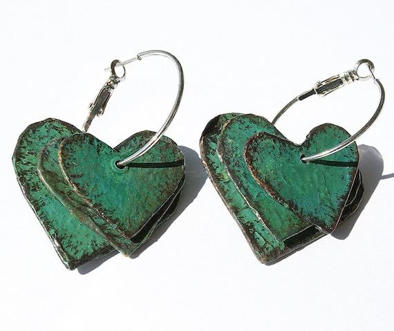 Handmade papier mache green abstract lightweight stud earrings